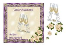 Engagement card cream roses by Julie Hassall A beautiful engagement card which has a pretty metallic frame and 3D cream roses. The  central image of champagne glasses can be cut out and mounted, as can the roses. This design fits a 7 x 7