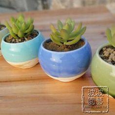 Free shipping, Fleshier plant flower pot ceramic flower pot zakka small round pots mini flower pot