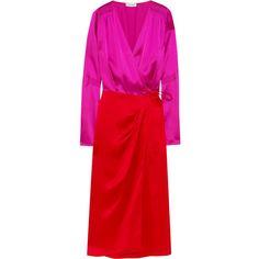 Attico Gabriela two-tone satin wrap dress (€1.030) ❤ liked on Polyvore featuring dresses, attico, bright pink dress, 2 tone dress, tie dress, smocked dresses and wrap tie dress
