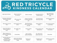 Download Our #Kindness #Calendar - If you struggle, schedule it! http://redtri.com/download-our-kindness-calendar/ (via Red Tricycle)