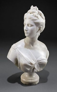 An Italian White Marble Bust of Diana