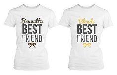 Best Friend Blonde and Brunette Best Friends Matching BFF White Shirts - Trivoshop - X-LARGE / X-LARGE