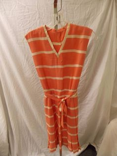Vintage Maggi Stover Dress pleated, peach w/ cream stripes, belt vtg Size 9  #MaggiStover #pleated #Everyday
