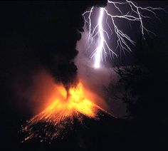 amazing display of volcanic eruption with lightning strikes......