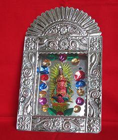 Virgin of Guadalupe nicho box Mexican Artwork, Mexican Folk Art, High School Crafts, Tin Art, Bizarre, Indigenous Art, Global Art, Religious Art, Our Lady