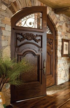 Custom Mahogany Arched Double Doors Mediterranean front doors love against the stone wall! Entry Doors, Wood Doors, Entryway, Mediterranean Front Doors, Mediterranean Style, Tuscan Style, Door Design, House Design, Exterior Design
