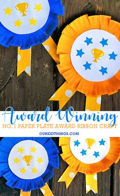 Celebrate Big Wins with our Paper Plate #1 Award Ribbon Craft! For kids, sports, and a great award for Father's Day, too! #kids #paperplatecraft #award #backtoschool #fathersday #1 #ad