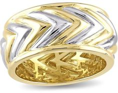 V1969 Italia 18K Gold-Plated Two-Tone Sterling Silver Zig Zag Men's Ring