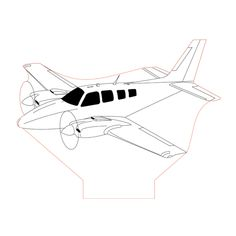 Beechcraft baron g58 3d illusion lamp plan vector file for CNC - 3bee-studio