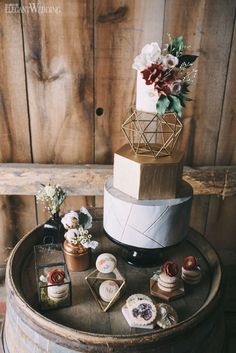Geometric Wedding Cake With Gold Details, Boho Wedding Cake and Sweets www.elegantwedding.ca