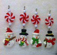 4 Mini Snowman Peppermint Patty Candy Icicle Christmas Tree Ornaments