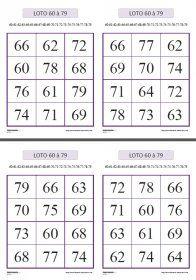 Un jeu de loto pour travailler la confusion classique des nombres entre 60 et 79 au CP et au CE1.