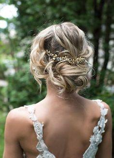 Low Updo Gold Leaf Hairpiece Wedding Hairstyle - Chic twisted low bun wedding hairstyle with gold leaf hair crown; Featured Hairpiece: Lottie Da Designs