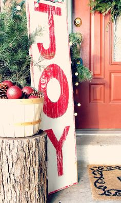 """JOY"" Wood Sign Love the whole set up here...rustic, classy, simple..."