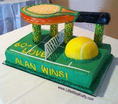 Tennis Theme Cake - www.LittleMissKrafty.com Tennis Party, Tennis Gifts, Tennis Decorations, Birthday Cakes, Birthday Ideas, Cupcake Cakes, Cupcakes, Little Miss, Themed Cakes