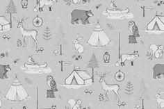 Wall mural R15312 Camping Trip, Grey