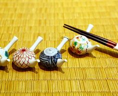 chopstick rests in the shape of a Japanese side-handle teapot, Asahido pottery store near the Kiyomizudera temple, Kyoto, Japan