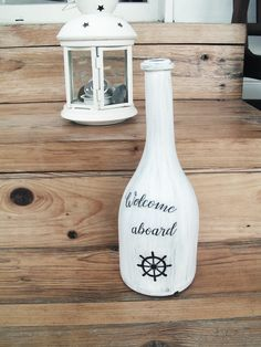 Handmade nautical glass bottle decoration welcome aboard by Emulikart on Etsy