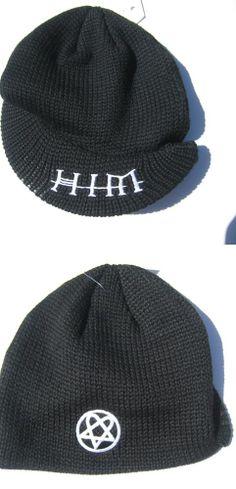 d644dbc2034 HIM H.I.M. Knit Beanie W  BRIM HAT EMBROIDERED HEARTAGRAM BLACK NEW  HIM   Beanie