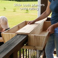 Looking for an easy, inexpensive way to update your front porch? This custom railing planter is your summertime solution for curb appeal that lasts all year. Our DIY design can be adjusted to fit your railing and your style, unlike many store-bought options. Follow along as we show you how to build and install a simple deck rail planter. #diyplanter #railingplanter #woodworking #weekendproject #bhg Deck Railing Planters, Deck Railings, Diy Planters, Planter Boxes, Garden Planters, Front Porch Planters, Wood Pallet Planters, Front Porches, Outdoor Projects