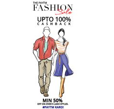 #PaytmFashionSale‬ Start At 1PM (Last Day Last Chance For Saving) - 100% Cashback On Clothing, Footwear & Accessories