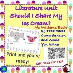 "This is a language arts book study, using the Mo Willems book ""Should I Share My Ice Cream?"" Teaching young students to think and make connections as they read. Also to introduce them to critical thinking and making choices skills by ""Would you rather"" Tasks; these are supported with an image.There is a QR Code for the text.These tasks require students to make connections (Text to Self; Text to Text; Text to World)There are also tasks encouraging Close Reading Skills and high"