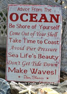 Beach Sign  Beach Decor  Advice From The Ocean by CarovaBeachCrafts FB - Carova Beach Crafts Hand Painted Reclaimed Wood