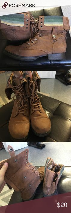 Brown combat boots Combat boots with adjustable fold over. Zipper and tie up. Worn a handful of times. Scuff on the toes as shown in picture. Fold over is multicolored. BONGO Shoes Lace Up Boots