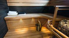 Pyöreitä muotoja pieneenkin saunaan   Suomen Tervaleppä Basement Sauna, Sauna Shower, Sauna Design, Spa Rooms, Laundry Room, Bathtub, Stairs, Bathroom, Saunas