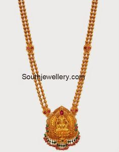 2 in 1 Antique Lakshmi Long Chain - Indian Jewellery Designs Gold Mangalsutra Designs, Gold Earrings Designs, Gold Temple Jewellery, Gold Jewellery Design, Bijoux En Or Simple, Collier Antique, Gold Chain Design, Bracelets Design