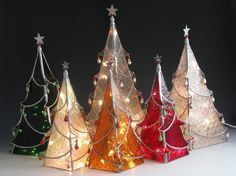 Image detail for -click to enlarge 4 sided holiday trees decorative stained glass table ...