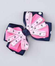 Navy & Pink Nautical Bow Clip