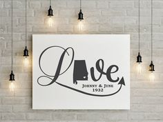 Spice up your walls with our premium vinyl decal wall art.  The look of freshly painted words without the mess, time⌚or effort of painting.  We have a wide variety of colors to choose from. Decal Life Studio  State of Alabama Love Decal, wedding gift, family names
