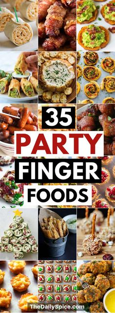 The best party finger foods that will make you the hit of the party! Bring these easy party appetizers to your next party or family gathering and be sure to impress the guests! food easy 35 Perfect Party Finger Foods: Party Appetizers - The Daily Spice Finger Food Appetizers, Appetizer Recipes, Birthday Appetizers, Best Party Appetizers, Best Party Food, Appetizers For Dinner, Super Bowl Appetizers, Christmas Party Appetizers, Finger Food Recipes