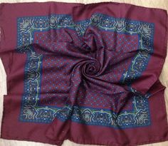 Pure Silk Square Men's Scarf - Burgandy, Blue and Green Design - Perfect Unused Vintage Stock from 1980s by JohnTjadenScarves on Etsy