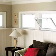 A hopper window is hinged at the bottom. A hopper window in a house designed to open inward to a point completely perpendicular to the wall. Cabin Bathrooms, Cheap Bathrooms, Basement Windows, House Windows, Window Ventilation, Basement Ventilation, Window Types, American Craftsman, House Inside