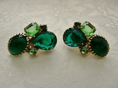 Vintage Emerald Cut Green Rhinestones by PhylmasFabulousFinds - $26.00