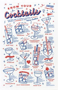 Buy Know Your Cocktails tea towel by Crispin Finn at Soma Gallery, Bristol. Crispin Finn is London based duo Anna Fidalgo and Roger Kelly. They have worked together since 2008 and make illustration, design, screen prints, stationery and homeware. Game Design, Menu Design, Layout Design, Branding Design, Cocktail Illustration, Graphic Design Illustration, Retro Illustration, Photoshop, Lightroom