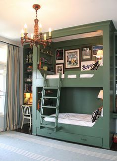 Built in bunkbeds, the added bookshelf headboards is a big plus.
