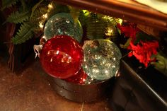 large glass ornaments in red, green and clear  Evergreen Home Decor Store  Lake of the Ozarks