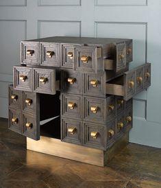 Multi-drawer, 40 brass handles, sandblasted and ebonized oak 33 Art Furniture, Dream Furniture, Cabinet Furniture, Contemporary Furniture, Furniture Design, Armoire, Modern Interior Design, Designer, House Design