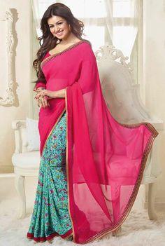 USD 25.45 Ayesha Takia Pink Georgette Party Wear Saree 44553