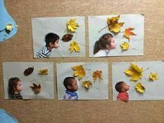 Foto met gedroogde herfstbladeren. Kinderen blazen de bladeren weg...