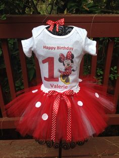 Red minnie mouse birthday tutu set by Amyshandmades17 on Etsy