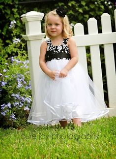 Black and White flower girl dress