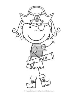 Little Girl Pirate Art Free pirate coloring pages Pirate Coloring Pages, Free Printable Coloring Pages, Coloring For Kids, Coloring Pages For Kids, Coloring Sheets, Pirate Boy, Pirate Theme, Pirate Ships, Pirate Activities
