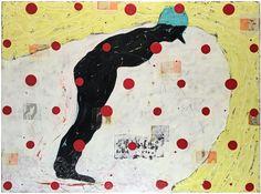 "John Randall Nelson, Title: Simultaneously Forward Backward and Sideways. Mixed Media painting. 48""x64"". balance, polka dots, figure. falling"