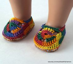 American Girl Rainbow Crocheted Shoes by SweetPeaFashions on Etsy, $8.50