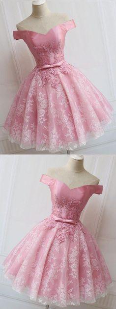 Prom Dresses A-Line #PromDressesALine, Homecoming Dresses A-Line #HomecomingDressesALine, Homecoming Dresses Pink #HomecomingDressesPink, Pink Prom Dresses #PinkPromDresses, Prom Dresses Lace #PromDressesLace, Prom Dresses 2019 #PromDresses2019