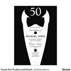 Tuxedo Bow Tie Mens 50th Birthday Party Invite